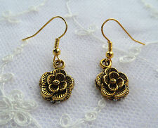 SMALL VICTORIAN STYLE ROSE DROP EARRINGS GOLD PLATED ANTIQUE FINISH HOOK EARWIRE