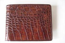 Men's Genuine Crocodile Billfold Wallet With Coin Pocket and Zippered Pocket