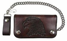 "New Mens Leather 6"" Antique Embossed American Bald Eagle Chain Wallet USA Made"