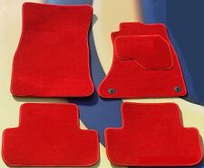 AUDI A4 & S4 08 - 11  BRIGHT RED TAILORED CAR MATS 4 ROUND CLIPS