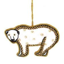 Polar Bear Velvet Ornament Nwt Fair Trade Handmade in India Zardozi Embroidery