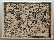 Stampendous - OLD WORLD MAP - Large Wood Mounted Rubber Stamp - New