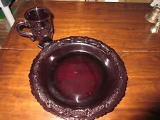 Avon Cape Cod collection ruby red plate and cup glass