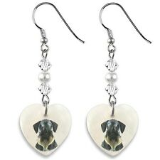Cesky Terrier 925 Sterling Silver Heart Mother Of Pearl Dangle Earrings Ep72