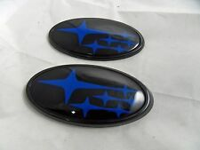 NEW Blue / Gloss Black Front & Rear Subaru™ Emblems / Badges Free US Shipping