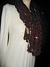 Chan Luu Scarf Embroidered Long Wrap Viscose w Silver Sequins Claret & Black NWT