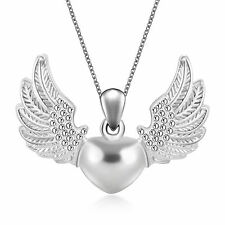 Love 925 Silver Plated Heart Angel Wing Charm Pendant Necklace Jewelry Hot
