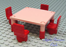 NEW Lego Minifig Pink Peach TABLE & RED CHAIRS - Gr8 4 Girl Friends Kitchen Food