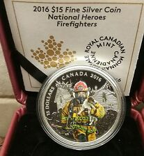 Firefighter National Heroes $15 2016 3/4OZ Pure Silver Coloured Canada Coin.