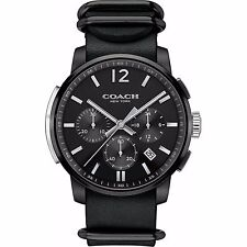 BRAND NEW COACH 14602021 BLEECKER BLACK STEEL & LEATHER CHRONOGRAPH MEN'S WATCH