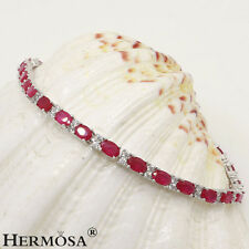 Hermosa® 925 Sterling Silver Charm Red Cherry Ruby Delicate Women Bracelets 7""