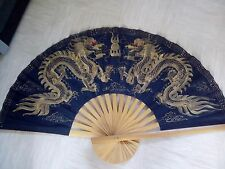 large Chinese antique silk painted fan dragon picture with bamboo sticks