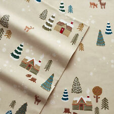 New Queen Size Heavyweight Cotton Flannel Sheet Set Cuddl Duds Lodge Scene