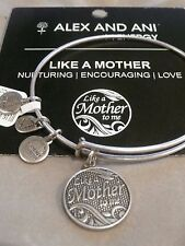 NWT Alex and Ani LIKE A MOTHER TO ME Silver Tone Charm Bracelet~Pouch~Card~RARE