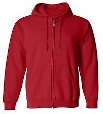 Mens Heavy Cotton Zipper Zip Hood Hoodie Solid Plain Blank Pockets Sweatshirt
