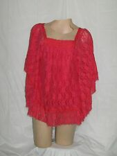 Lady Noiz Blouse Top Large Bat Wing Sleeves Lacy Floral Bright Coral