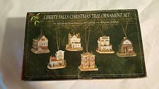 Set of (6) Liberty Falls Miniature Building Christmas Tree Ornaments in Box