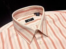 HUGO BOSS Mens 17 32/33 Orange Peach Plum Striped Long Sleeve Dress Shirt