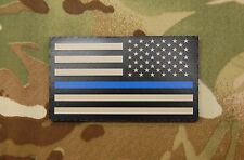 Infrared Thin Blue Line Reverse US Flag Patch Tan & Black Police SWAT SERT IR