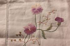 "Antique Society Silk Hand Embroidered Pansies On Linen Tablecloth~1yd10""L X 44""W"