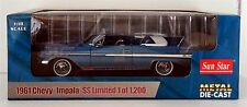 "1961 Chevy Impala Convertible Sun Star 1:18 Blue Limited Edition BRAND  ""NEW"""