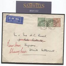 MS1183 1934 GB MALAYA AIRMAIL Harrogate Yorks Singapore Cover Note KGV 9d Used
