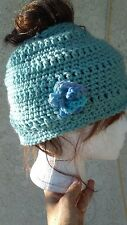 "Bun Beanie - Crocheted Hat with Opening at Top for Your ""Bun"" AF010"
