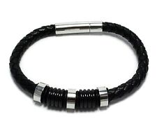 Mens Black Leather Stainless Steel Bracelet Bangle Fashion Jewelry