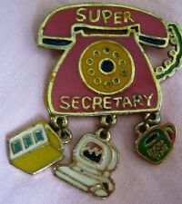 "Vtge Signed DM Gold Plated Enameled Telephone w Dangles Brooch ""Super Secretary"""