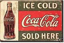 "Imán nevera Cartel Coca Cola ""Sold Here"" de 1916"