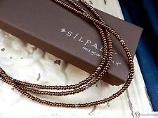 SILPADA N1591~Triple-Strand Bronze Glass and Sterling Silver Bead Necklace