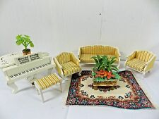 Lundby Sweden Living Room Set Couch Chairs Rug Table Piano Stool Plants
