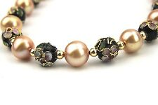 Cloisonne Cultured Fresh Water Pearls 14k 585 Gold Clasp Necklace Choker 17""