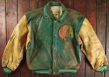 RARE VTG 1991 AVIREX SUQUAMISH NATIVE INDIAN LEATHER VARSITY BASEBALL JACKET M/L