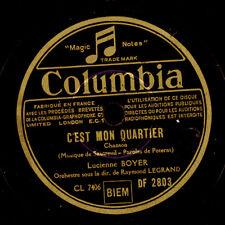 LUCIENNE BOYER -CHANSON-  C'est mon quartier / Lettre a Nini  Schellack   S6264