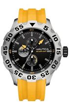 N15107G NEW Nautica Mens BFD 100 Multi Analog Display Japanese Quartz Yellow Wat