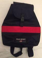 Rare Vintage Polo Sport Ralph Lauren Emboss Logo Navy Backpack Bag raver skater