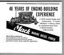 1946 Vintage Ad Mack Marine Engines Diesel Power Mariner