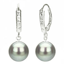 Sterling Silver 9-10mm Grey Freshwater Pearl Design Lever-back Earrings