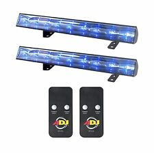 (2) American DJ Eco UV Bar 50 IR Ultraviolet LED Black Light Fixtures w/ Remotes