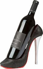 High Heel Wine Bottle Holder Ceramic Shoe Bar Decor Display Stand Black Modern