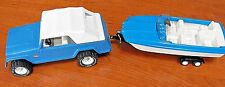 "TONKA JEEPSTER w ""CANVAS"" TOP XR-101 TIRES +  BOAT on TRAILER c1960s TOY EXC"