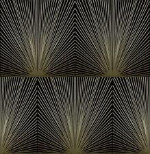 Wallpaper Designer Taupe Raised Ink Art Deco Burst Squares on Black Hatch