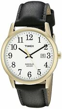Timex TW2P75700 Men's Indiglo Gold Tone Easy Reader Date Leather Band Watch