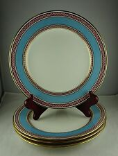4 Minton China Luncheon Plates A6890 - Blue Band, Pink Rope Border, Gold Trim