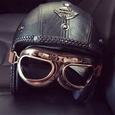 Motorcycle Retro Helmet Face Open Torc 3/4 Vintage DOT with New Googles