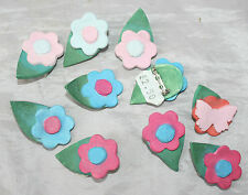 8 Ceramic Hand Made Craft Flower Pin Brooches + 1 similar Butterfly  RRP £22.50