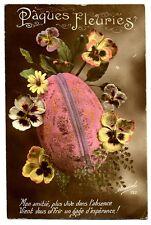 CPA Fantaisie Joyeuses Pâques Fleurs et oeuf