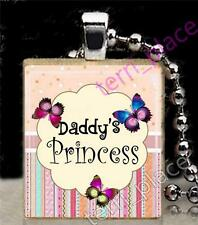 Butterflies Daddy's Princess Girls Scrabble Tile Pendant Jewelry Recycled Tile