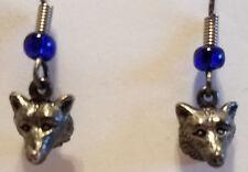 Husky or Wolf Head Silver Earrings Hook